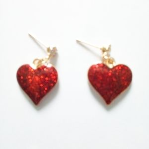 COPY - New Betsey Johnson Red Sparkle Hearts Earr…
